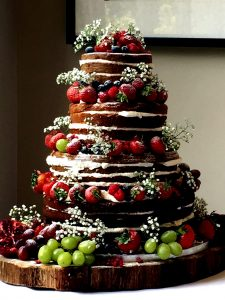 naked summer fruits wedding cake