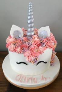 unicorn cake kids pink silver
