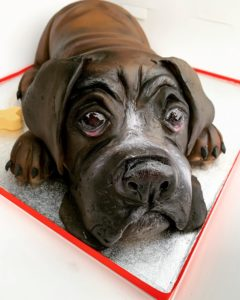 real sculptured dog cake